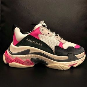 Balenciaga Triple S Pink Leather Trainers 37